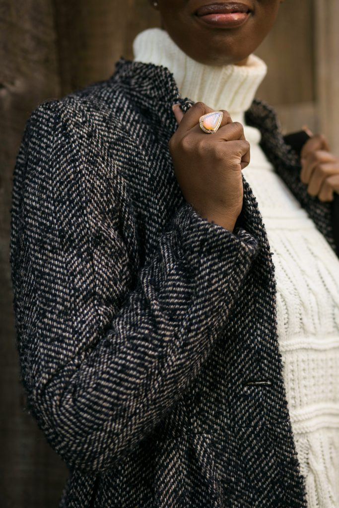 herringbone coat sweater dress cocktail ring detail fall fashion 2016