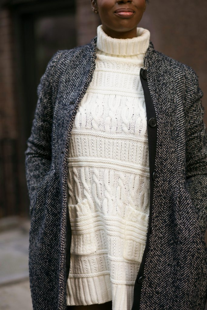 herringbone coat sweater dress detail fall fashion 2016