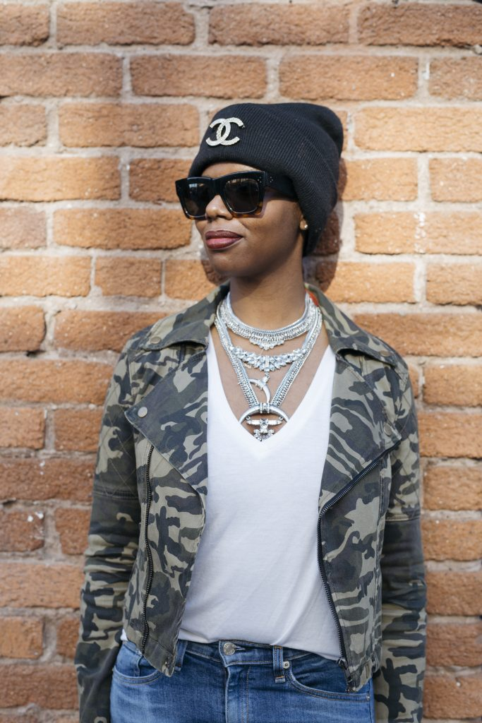 h&m beanie chanel brooch forever 21 camo moto jacket baublebar statement necklace san francisco fashion detail