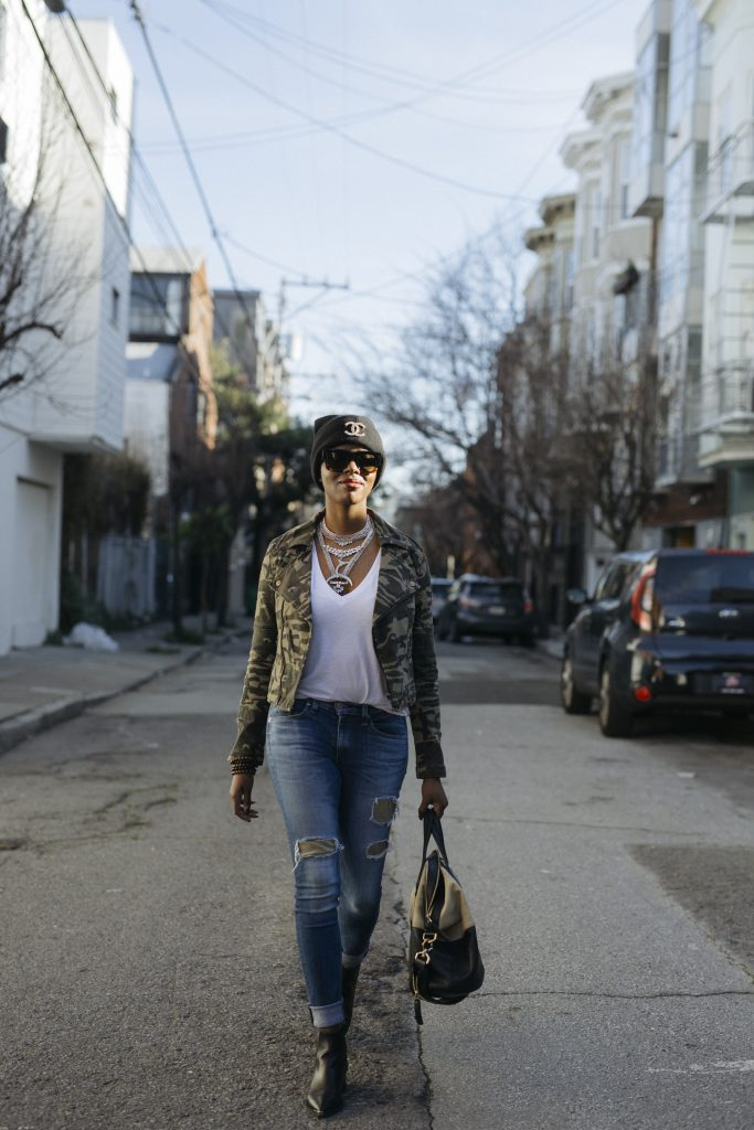 h&m beanie chanel brooch forever 21 camo moto jacket baublebar statement necklace rag and bone ripped skinny jeans acne studios jensen black leather ankle booties givenchy nightingale tote san francisco fashion street