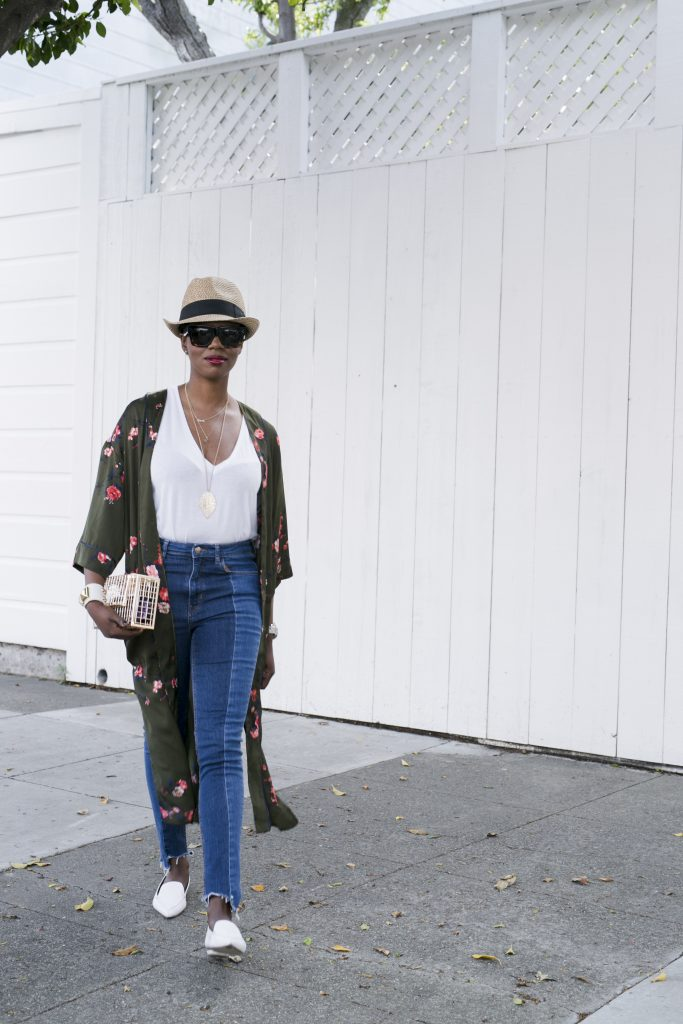 fedora green kimono white tshirt step hem jeans white shoes loafers gold clutch san francisco sf style fashion blog blogger