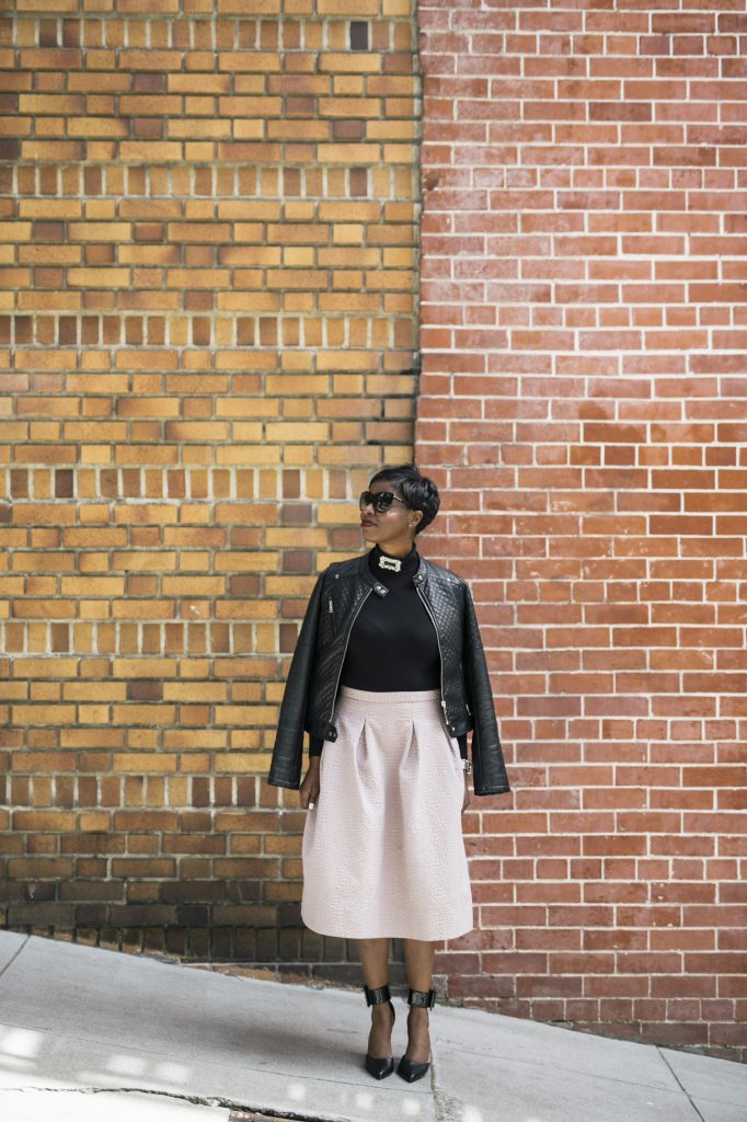 life unplugged tom ford sunglasses shop tempest choker ASOS black turtleneck bodysuit H&M mauve full midi skirt black faux leather jacket saint laurent ankle cuff pumps san francisco sf fashion style blog blogger