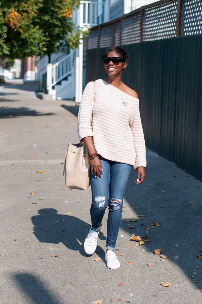 jcrew striped relaxed boatneck sweater dstld distressed jeans common projects white Achilles sneakers mansur gavriel sand bucket bag Chanel strass brooch Celine sunglasses San Francisco sf Bay Area style fashion blog blogger