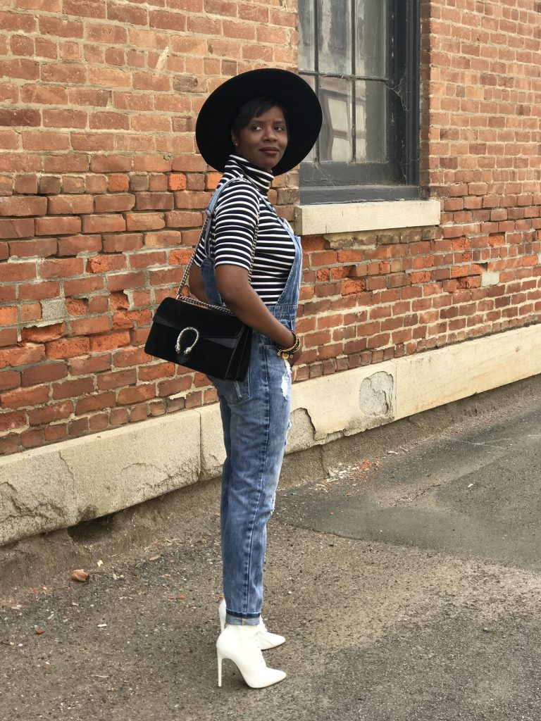 dorfman pacific gaucho hat reformation target striped turtleneck forever 21 distressed overalls chanel brooch gucci dionysus shoulder bag steve madden white lace up ankle boots cocoa butter diaries san francisco sf bay area fashion style blog blogger