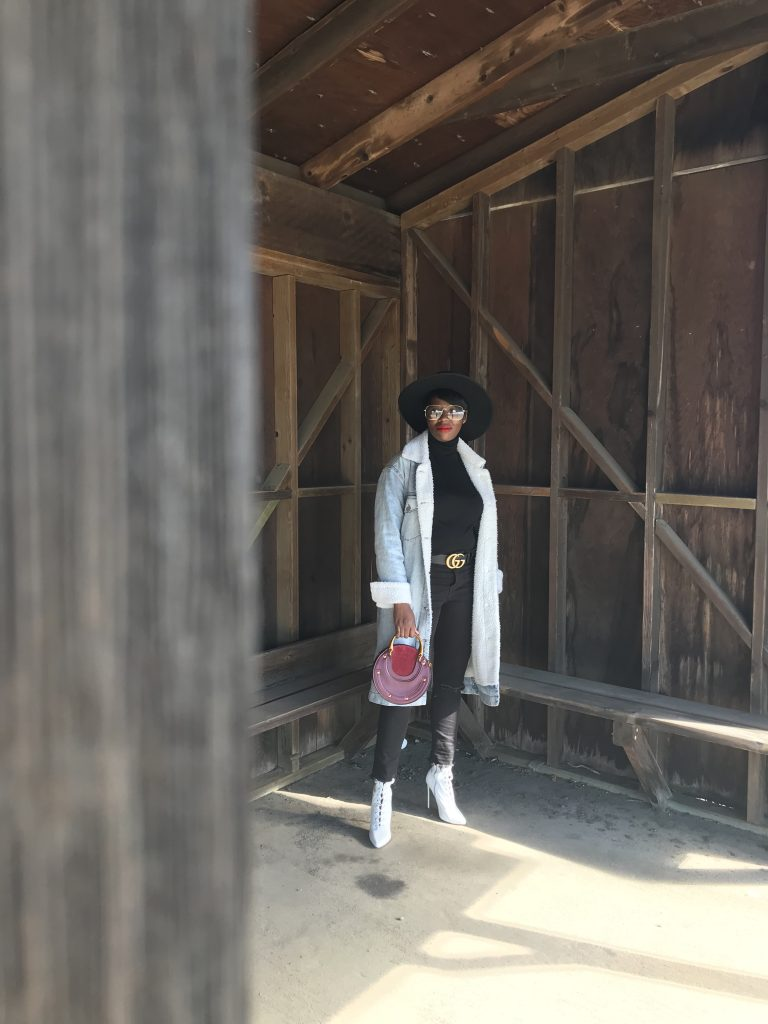 reformation wool hat wear me pro grandpa glasses oak and fort shearling denim coat zara black turtleneck levis black wedgie fit skinny jeans steve madden white ankle boots gucci black logo belt chloe burgundy pixie bag cocoa butter diaries ccb diaries san francisco sf bay area style fashion blog blogger