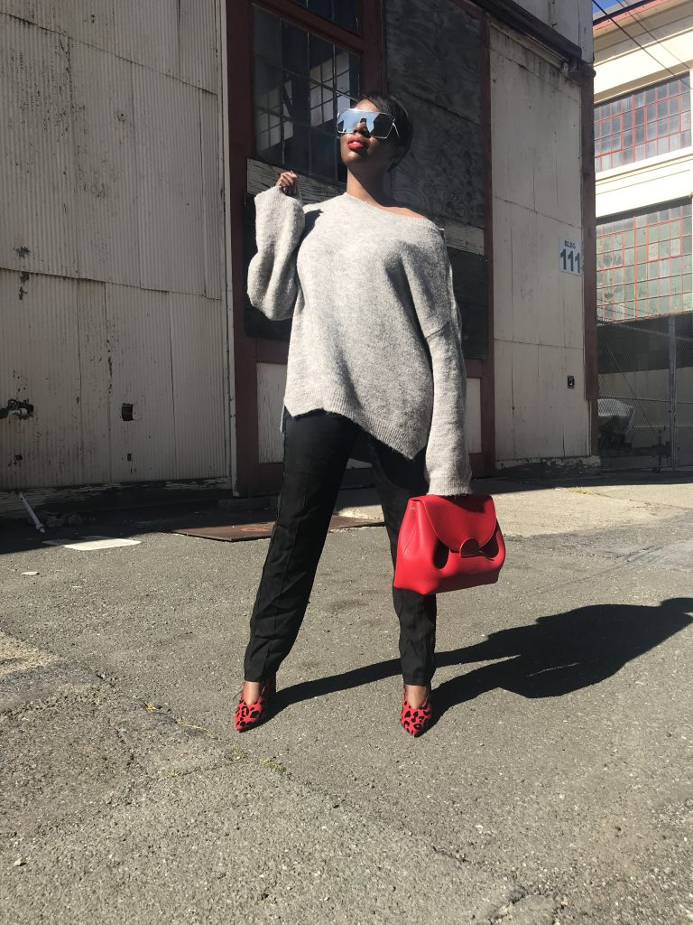 personal style evolution forever 21 sunglasses Nordstrom oversized sweater Zadig and Voltaire tuxedo pants topshop leopard block heel pumps Polene numero un bag San Francisco fashion blogger sf style blogger Bay Area fashion blogger