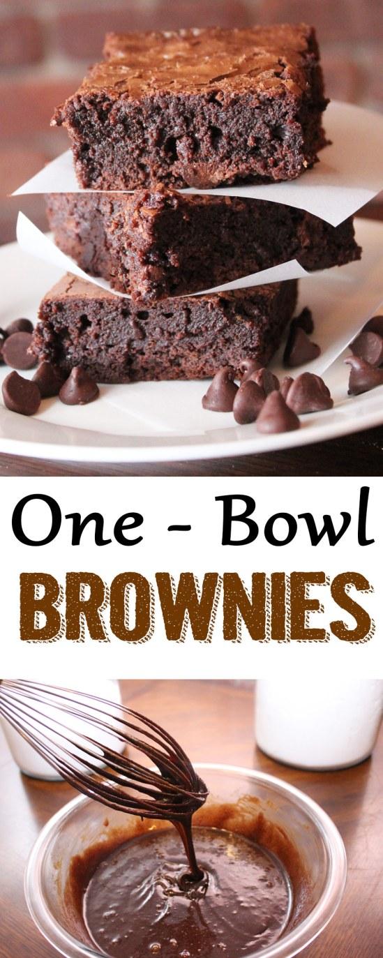 brownies, one bowl brownies, the best brownies, fudgy brownies, brownie recipe, easy brownies, quick brownies