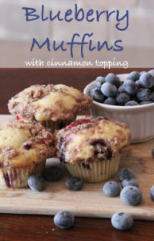 Blueberry Muffins with Cinnamon Topping
