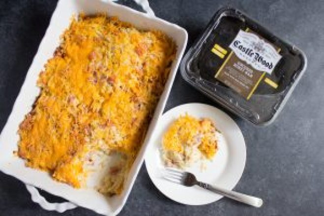 #BeyondTheSandwich, Castle Wood Reserve, Cheesy, ham, hashbrown casserole, side dish, easter, casserole, easy, ham and cheese, cheese, ham, potatoes, potato, creamy,