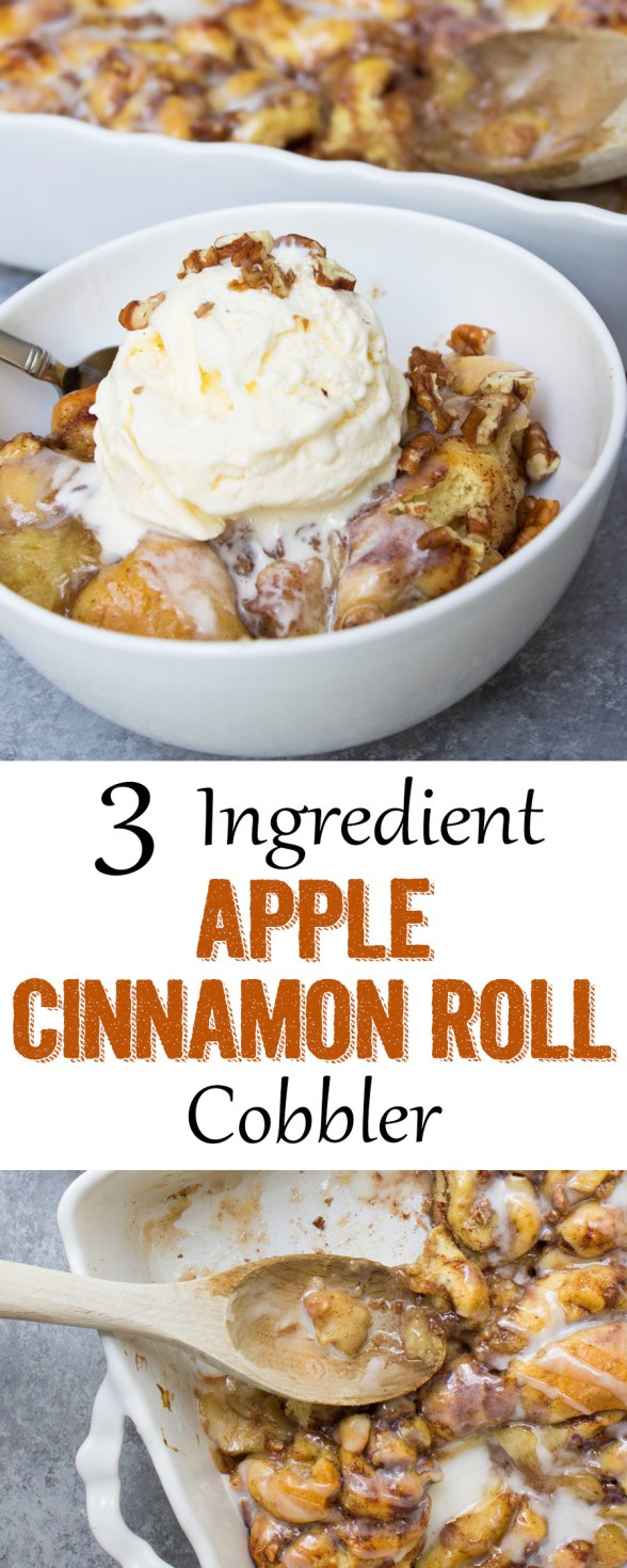 Easy apple cobbler, cinnamon rolls, cinnamon roll cobbler, coco and ash, dessert, apple, pie,