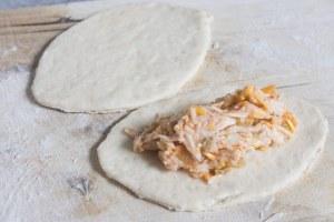 Cheesy Chicken Football Empanadas, Empanadas recipe, football recipe, game day recipe, game day, appetizer, football appetizer, pace salsa, chicken appetizer