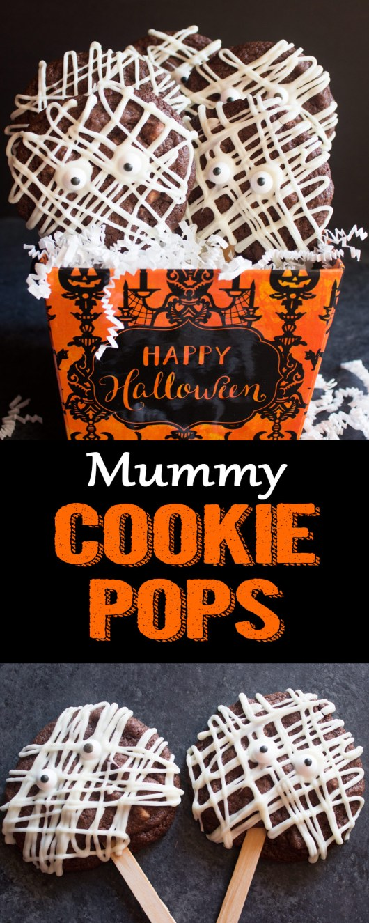 Mummy cookie pops, cookie pops, chocolate cookie pops, halloween cookies, halloween cookie pops, mummy cookies, halloween recipe