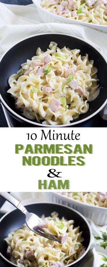 Parmesan Noodles with Ham, Noodles with ham, parmesan ham noodles, easy dinner, left over ham recipe, left overs