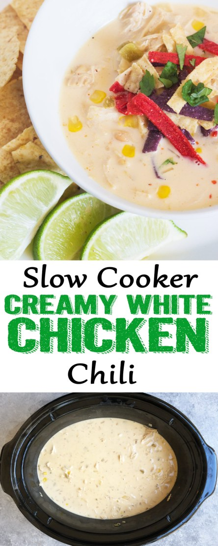 White chicken Chili, creamy white chicken chili, slow cooker chicken chili, crockpot white chicken chili,This Slow Cooker White Chicken Chili is the stuff dinner dreams are made of! It has so much flavor, is easy to make, and the slow cooker does the work for you!