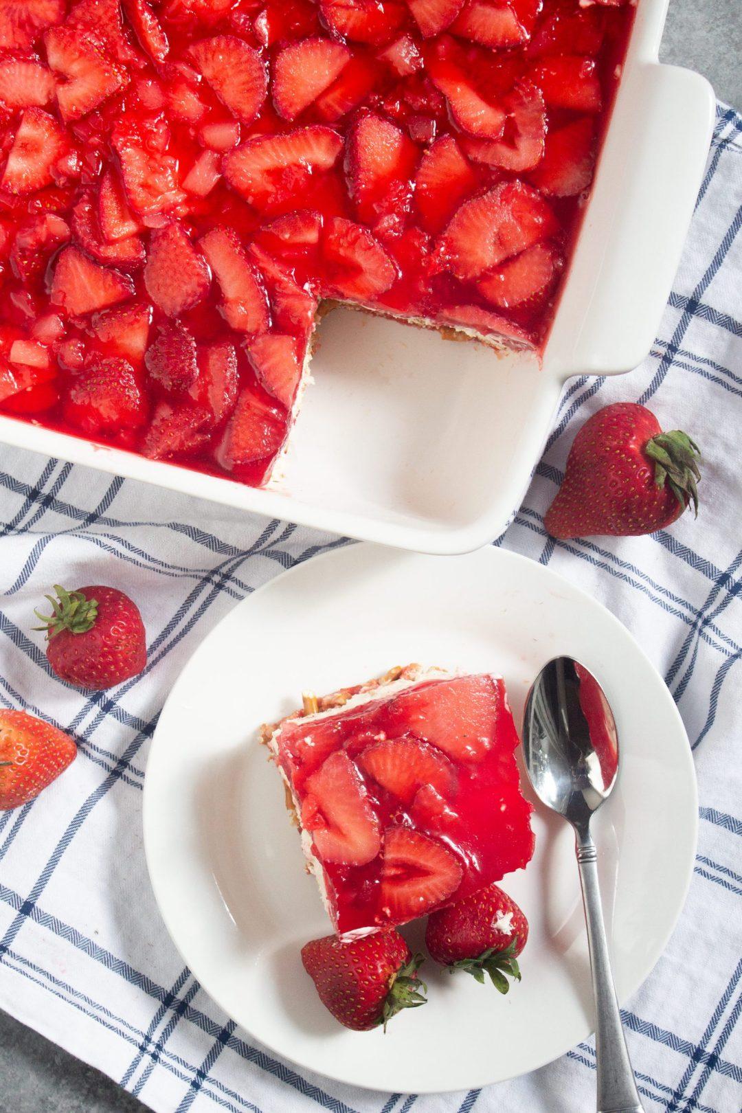 Strawberry jello salad, strawberry jello dessert, fresh strawberries, coco and ash,