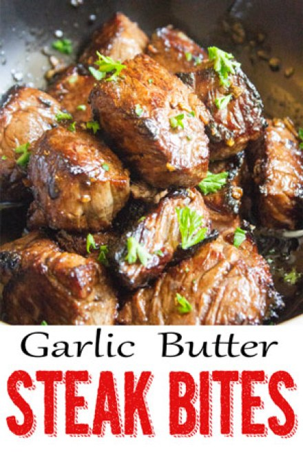 Garlic butter steak bites, marinated steak, marinated steak bites, garlic steak, coco and ash