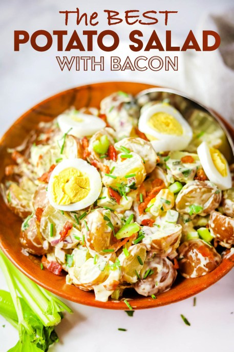 potato salad with bacon, potato salad on a fork, bacon potato salad, side dish, coco and ash