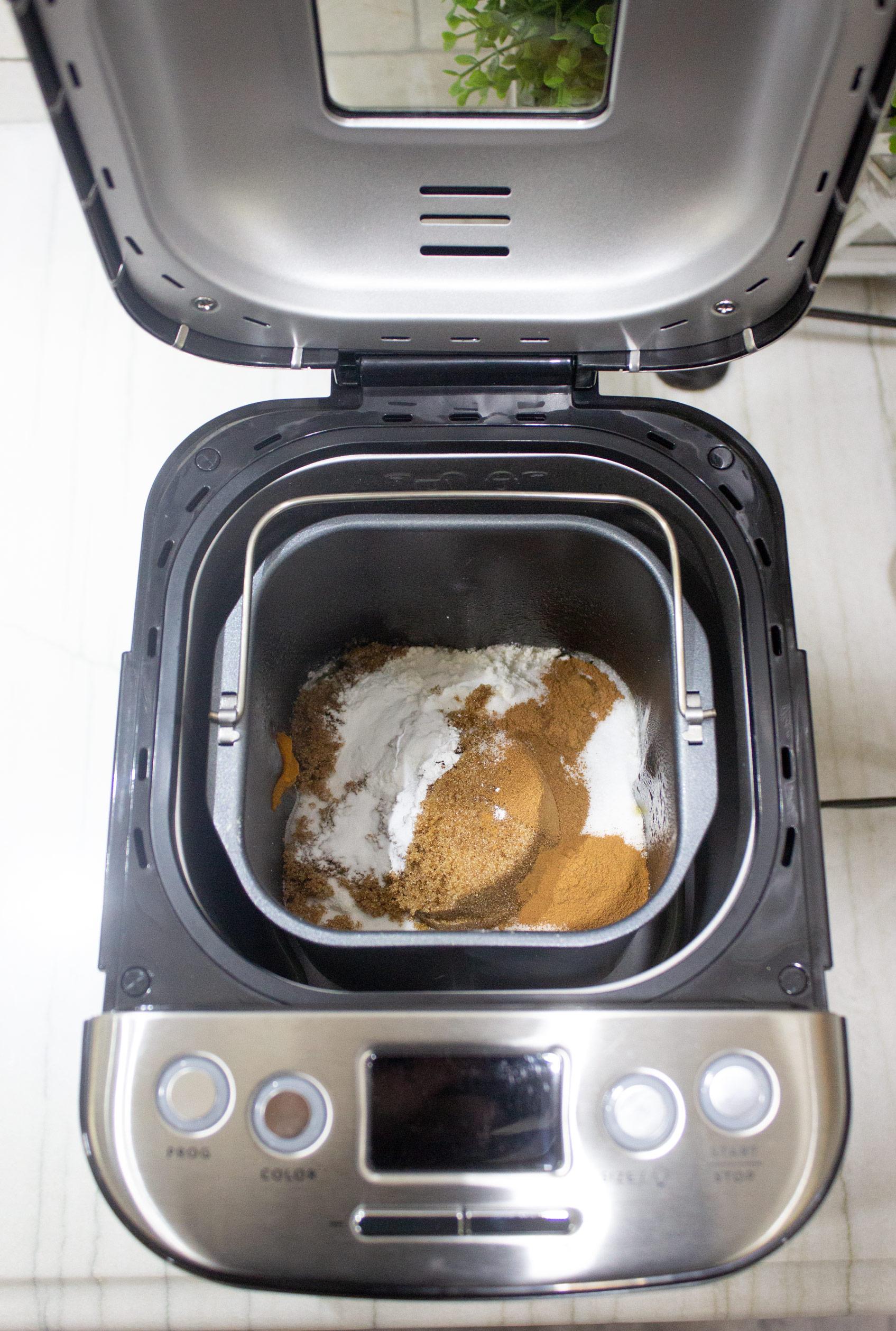 ingredients for Pumpkin bread machine recipe