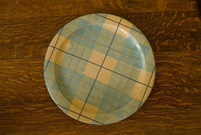 Coco&Me - www.cocoandme.com Coco and me - broadway market cake stall - Tamami - Glazed tartan stoneware dinner plate by ANTA of Scotland. Rare & collectible. the tartan is an early, orIginal design by Annie Stewart, co-founder of ANTA. Handmade and decorated in the Highlands.