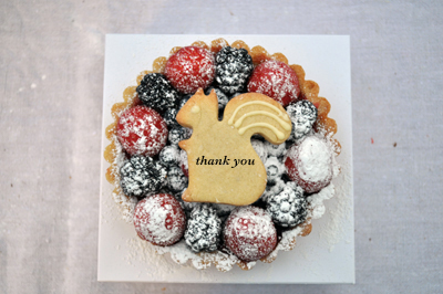 fruit tart with thank you message - www.cocoandme.com - Broadway Market London E8