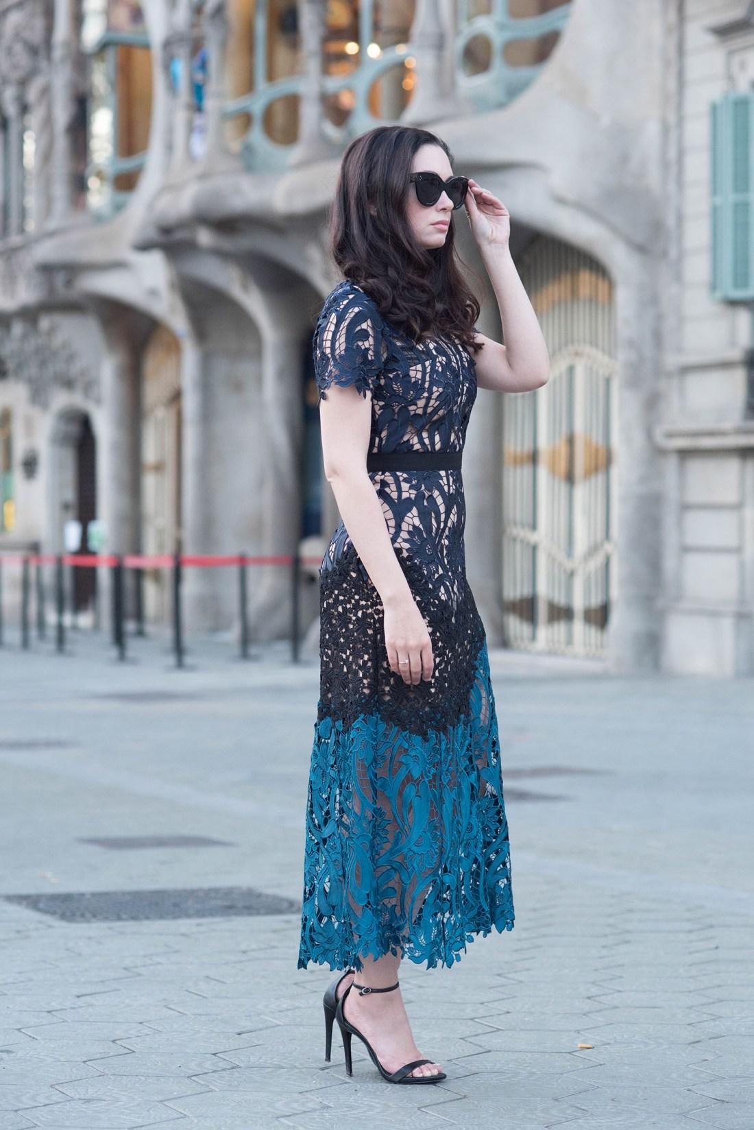Barcelona street style on fashion blogger Cee Fardoe of Coco & Vera, wearing Self-Portrait