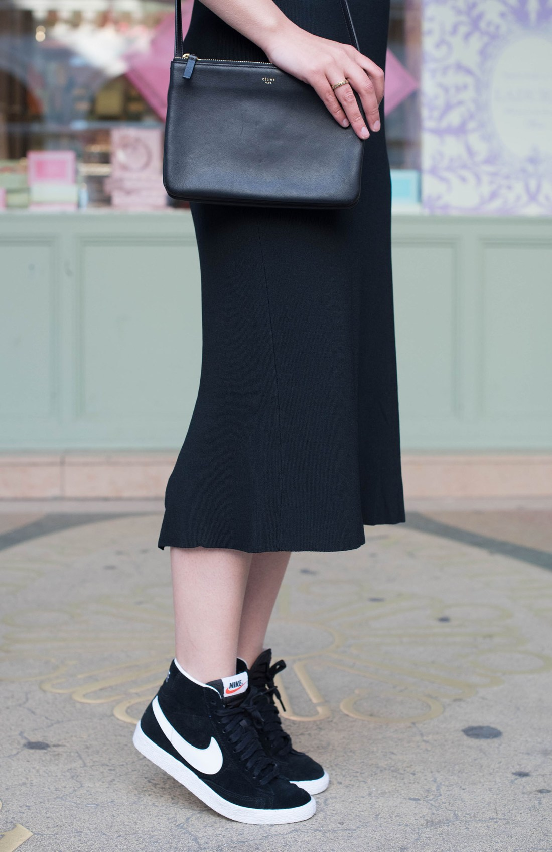 Details of personal style blogger Cee Fardoe of Coco & Vera, wearing a Celine trio bag and Nike Blazer sneakers