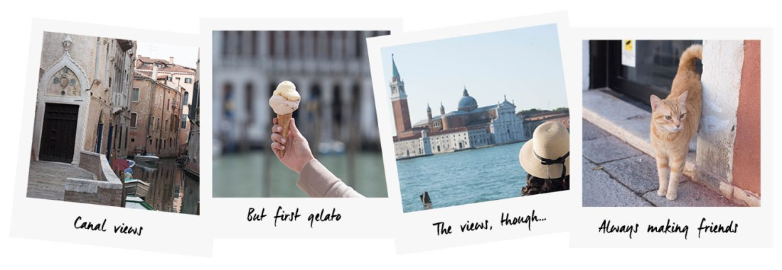 Polaroids of Venice by travel blogger Cee Fardoe of Cooc & Vera, featuring gelato and the Grand Canal