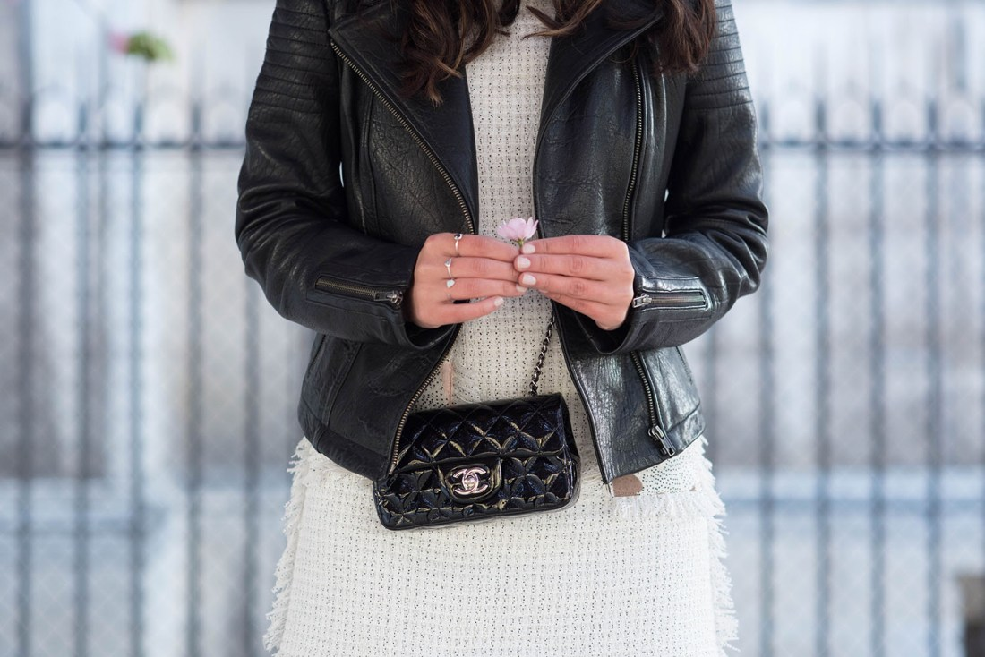 Outfit details on style blogger Cee Fardoe of Coco & Vera, featuring a Chanel handbag and Floriane Fosso dress
