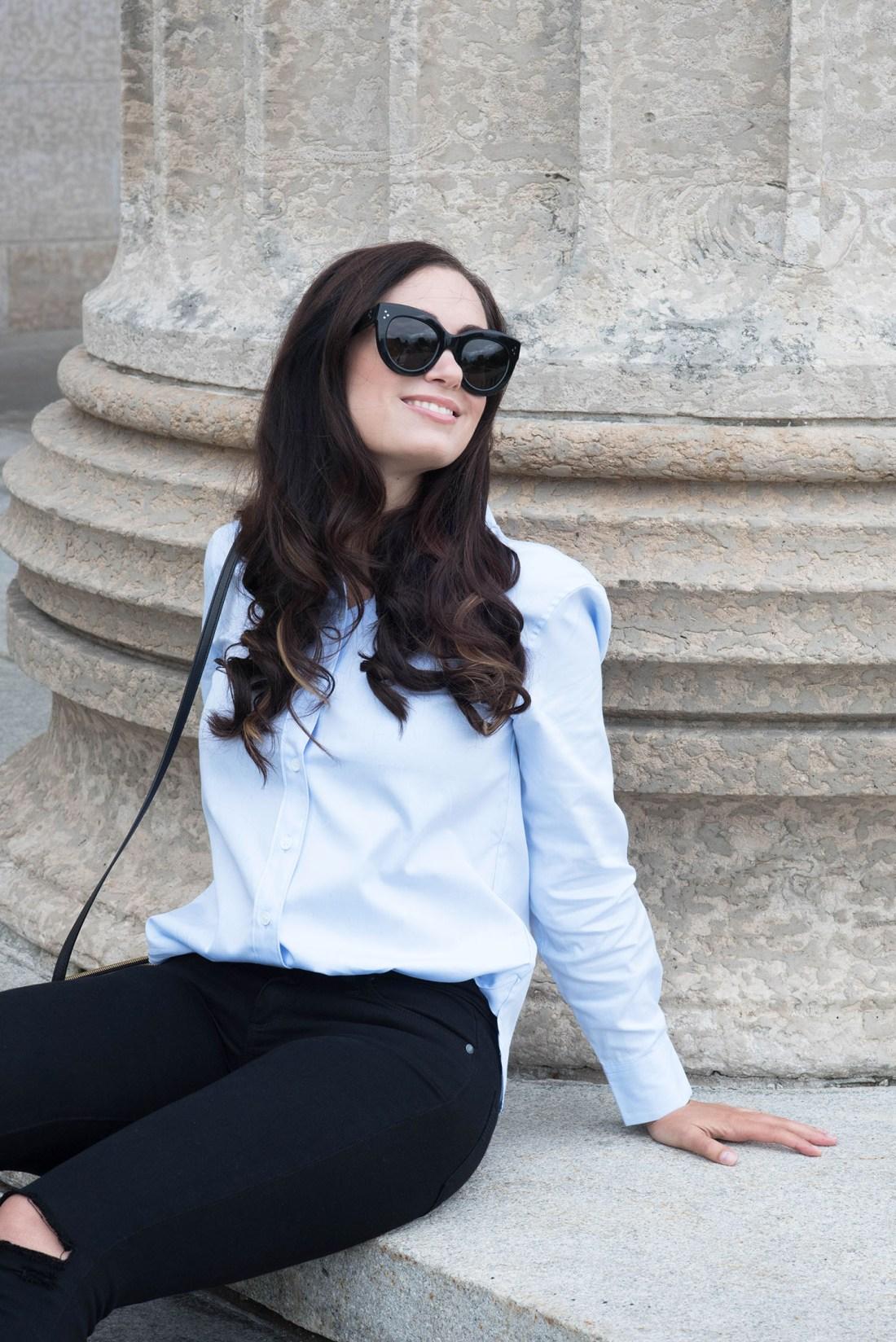 Portrait of Winnipeg fashion blogger Cee Fardoe of Coco & Vera wearing a blue Equipment blouse