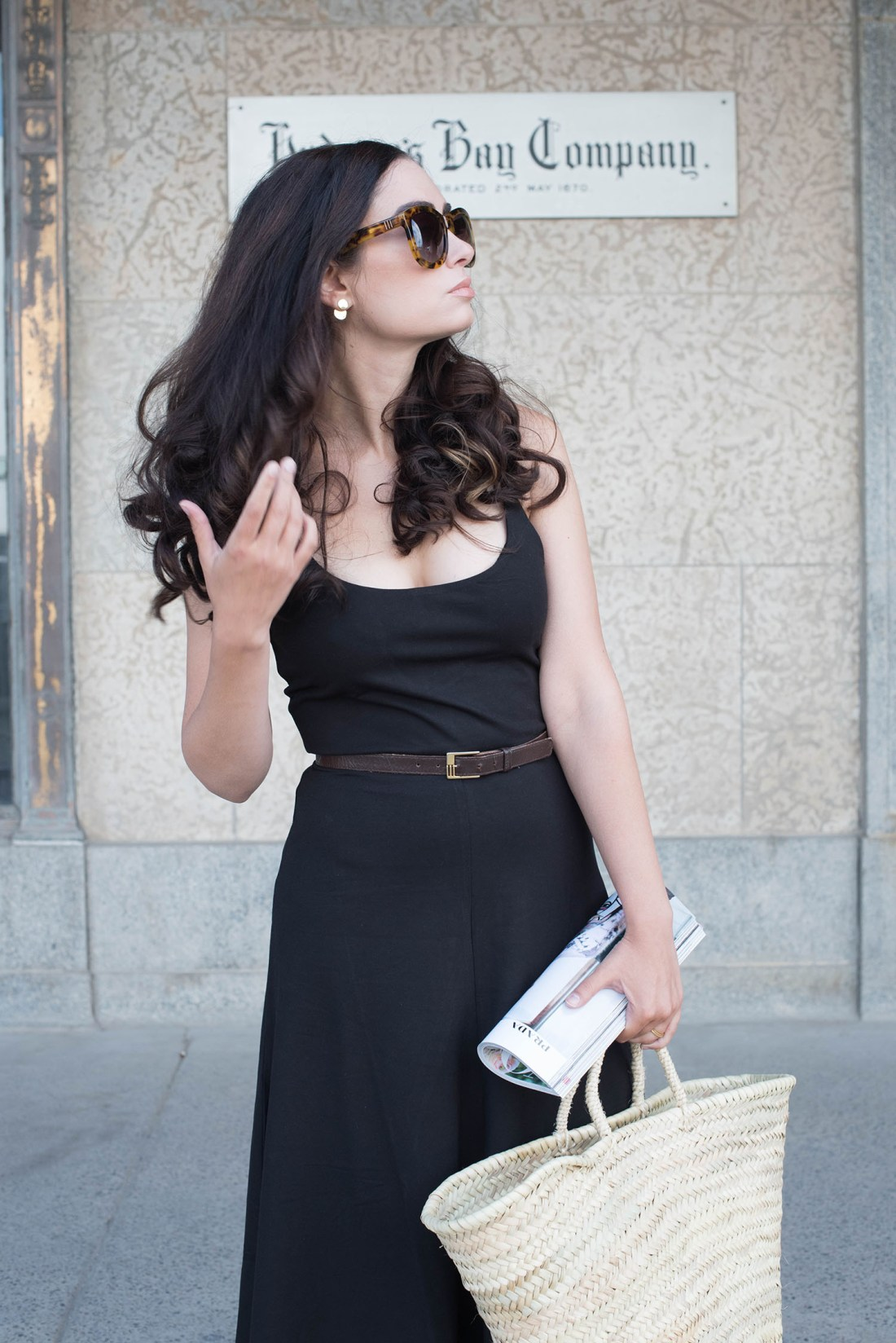 Portrait of style blogger Cee Fardoe of Coco & Vera wearing a Privacy Please dress and Anine Bing Paris sunglasses