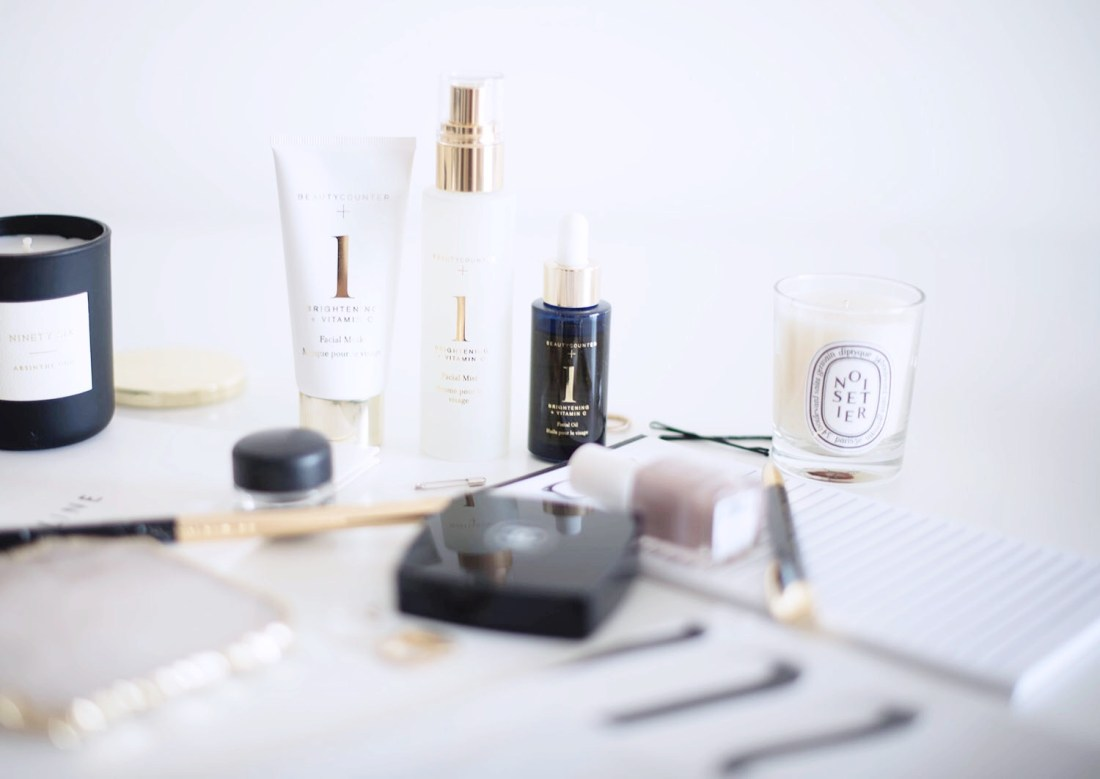 A line-up of cosmetics captured by Winnipeg beauty blogger Cee Fardoe of Coco & Vera, including the Beautycounter brightening spa set