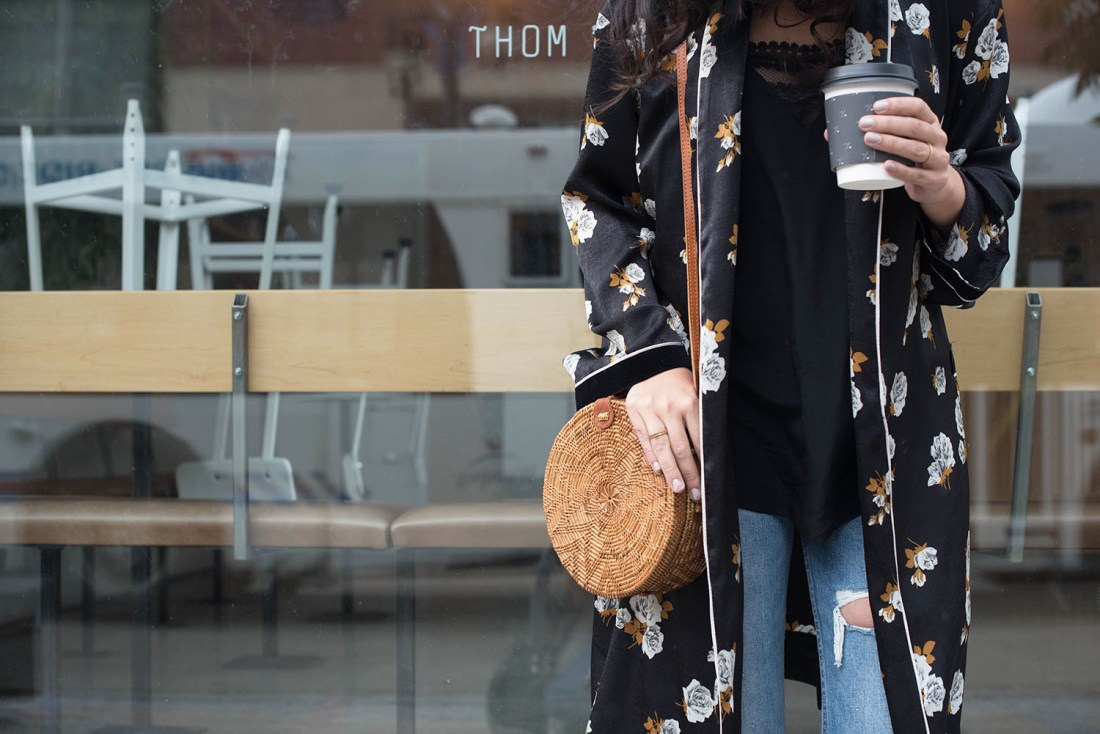 Outfit details on fashion blogger Cee Fardoe of Coco & Vera, wearing a Zara floral kimono, Grlfrnd Karolina jeans and a rattan basket bag