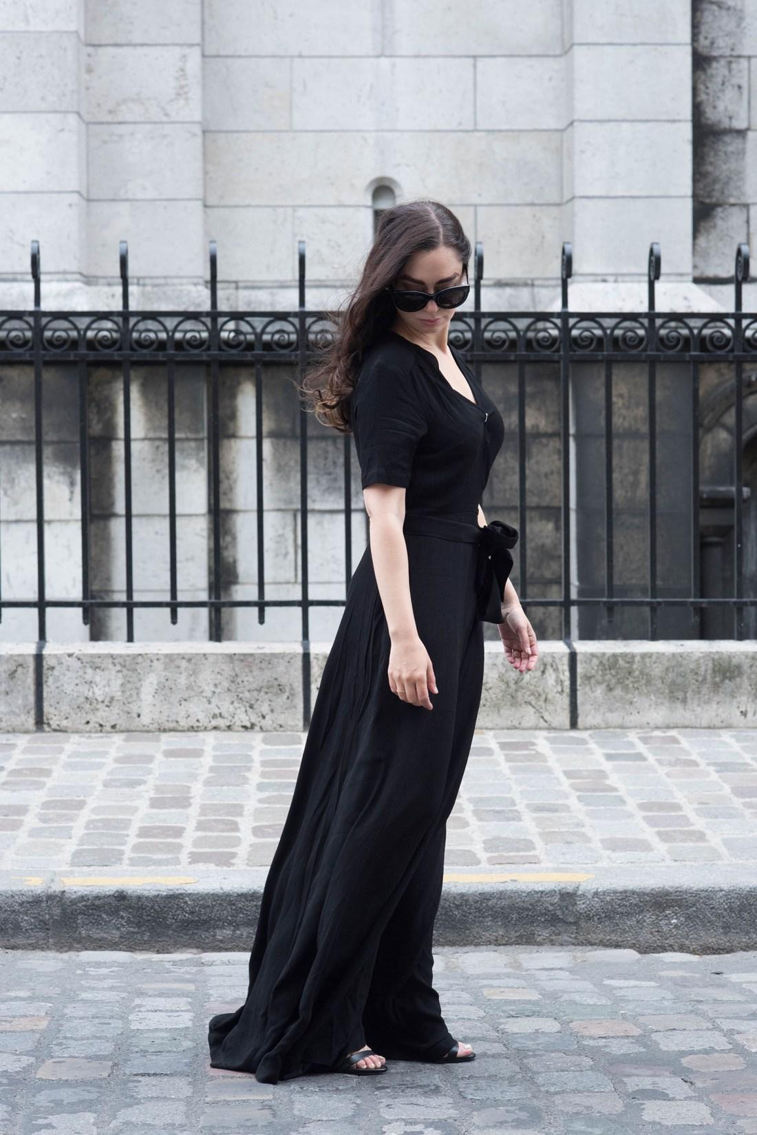 Fashion blogger Cee Fardoe of Coco & Vera wears a black Ivy & Oak maxi dress and Celine Audrey sunglasses in Paris