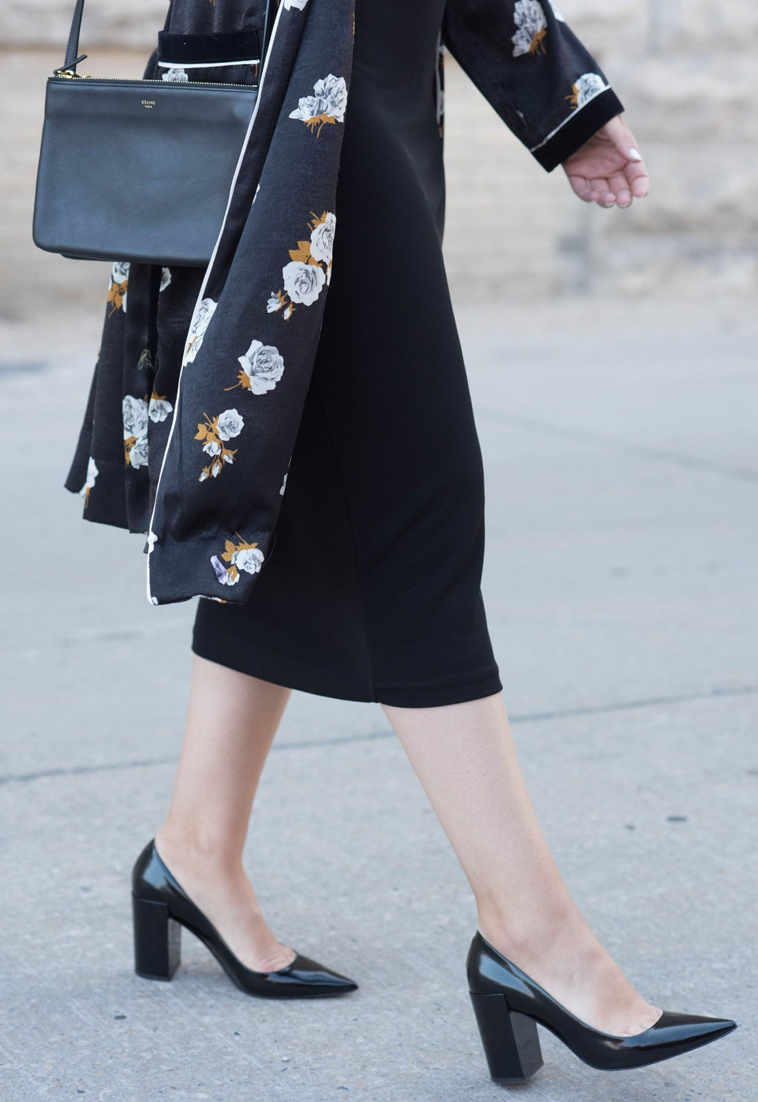 Outfit details on Winnipeg fashion blogger Cee Fardoe of Coco & Vera, wearing a Celine trio bag, Zara combined kimono and Pierre Hardy block heels