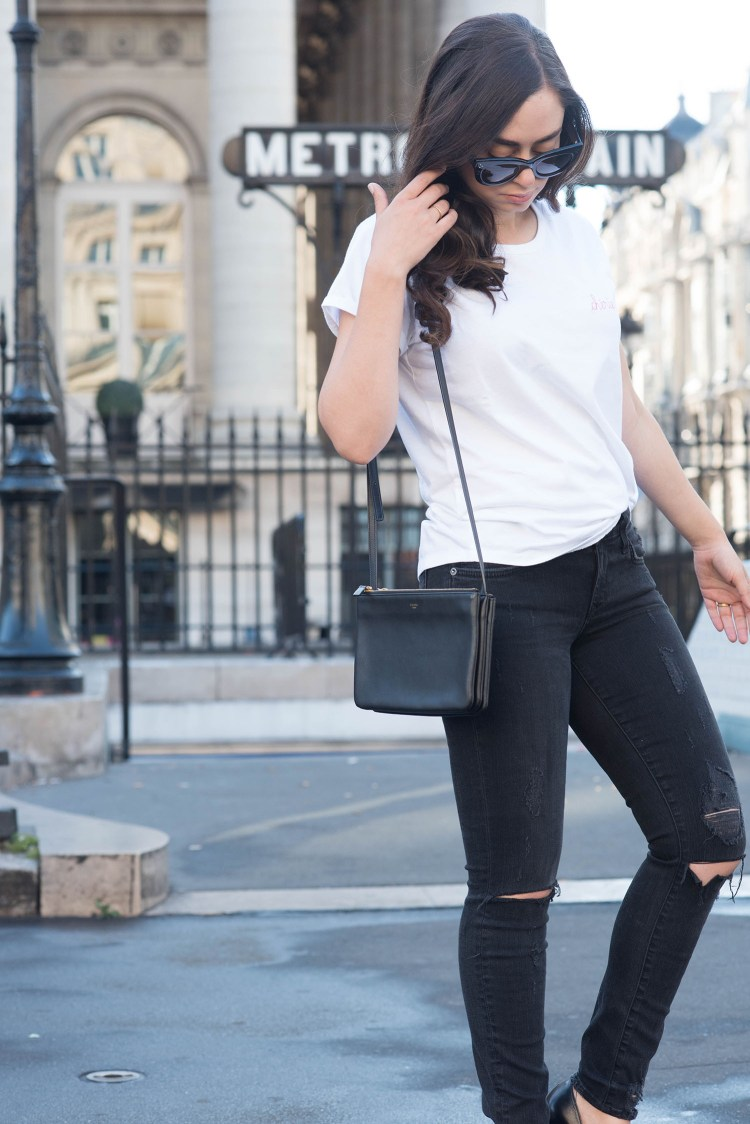Winnipeg fashion blogger Cee Fardoe of Coco & Vera in Paris carrying a Celine trio bag and wearing a Maison Labiche Cherie tee