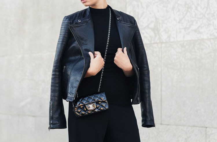 Outfit details on Canadian fashion blogger Cee Fardoe of Coco & Vera, captured by Christa Wong Photography, including a Cupcakes and Cashmere leather jacket and Chanel black patent handbag