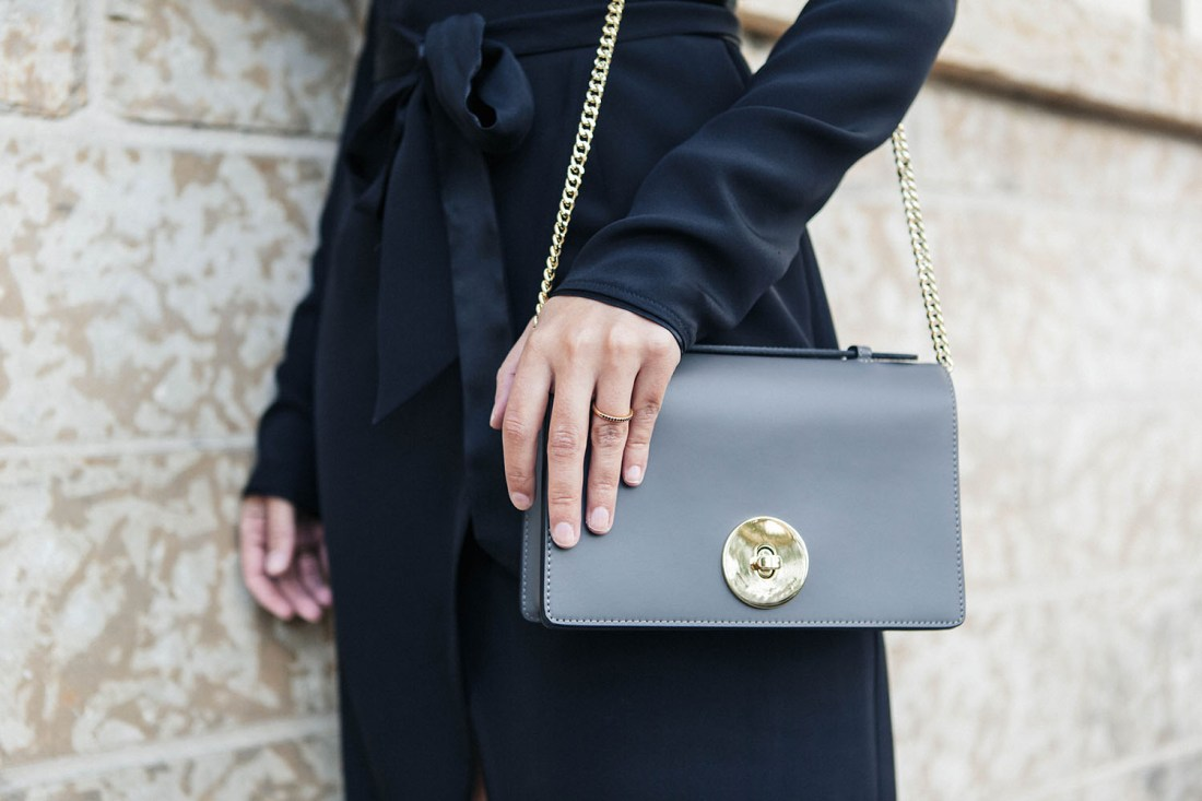 Outfit details on Winnipeg fashion blogger Cee Fardoe of Coco & Vera, including a grey Camelia Roma bag, as photographed by Christa Wong Photography