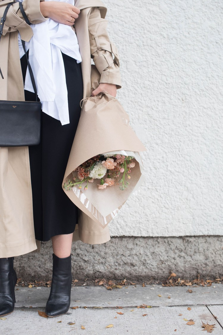 Outfit details on fashion blogger Cee Fardoe of Coco & Vera, including Aritzia culottes, Maison Martin Margiela ankle boots and a bouquet from Academy Florist