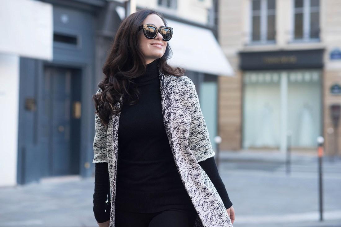 Portrait of Winnipeg fashion blogger Cee Fardoe of Coco & Vera in Paris wearing a Floriane Fosso coat and Celine Audrey sunglasses