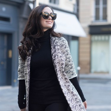 Portrait of Winnipeg fashion blogger Cee Fardoe of Coco & Vera in Paris wearing a Floriane Fosso coat and Celine Audrey sunglasses