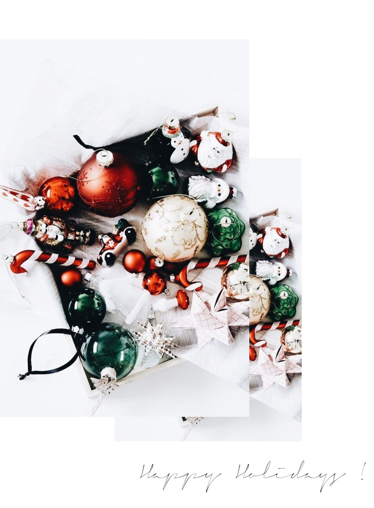 Winnipeg fashion blogger Cee Fardoe of Coco & Vera wishes her readers happy holidays for 2017 with red, white and green vintage Christmas ornaments