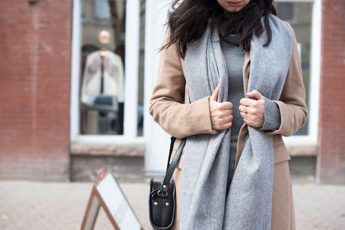 Outfit details on Canadian fashion blogger Cee Fardoe of Coco & Vera, including an ASOS grey wool scarf and APC half moon bag