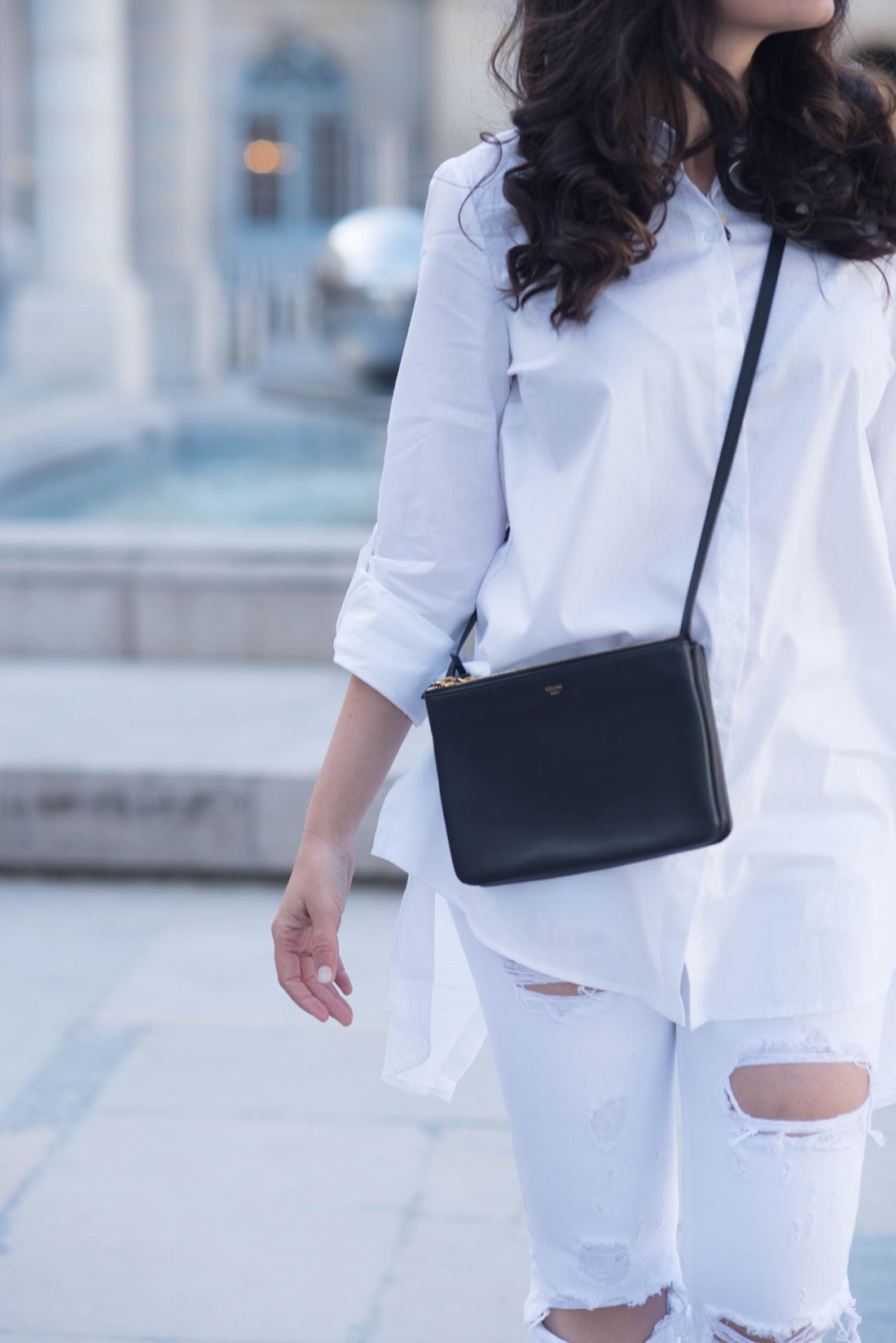 Outfit details fashion blogger Cee Fardoe of Coco & Vera, including a Celine trio bag and Marled blouse