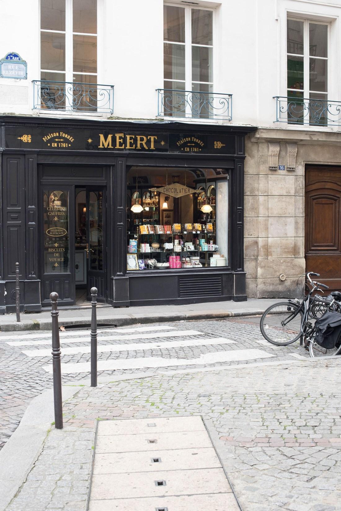 The black facade of Meert in le Marais in Paris, captured by Winnipeg travel blogger Cee Fardoe of Coco & Vera