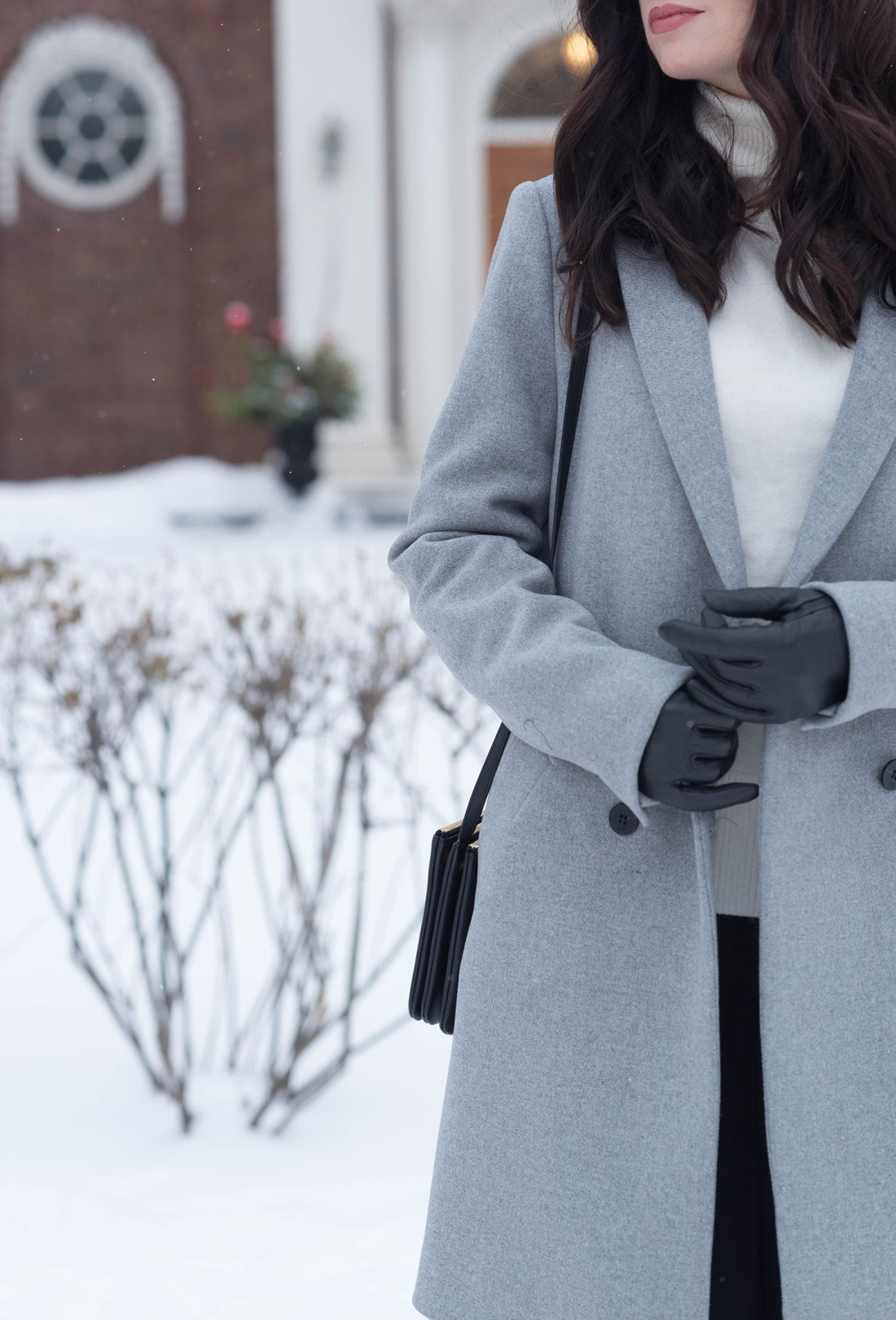 Outfit details on Winnipeg fashion blogger Coco & Vera, including a Celine trio bag and Zara coat