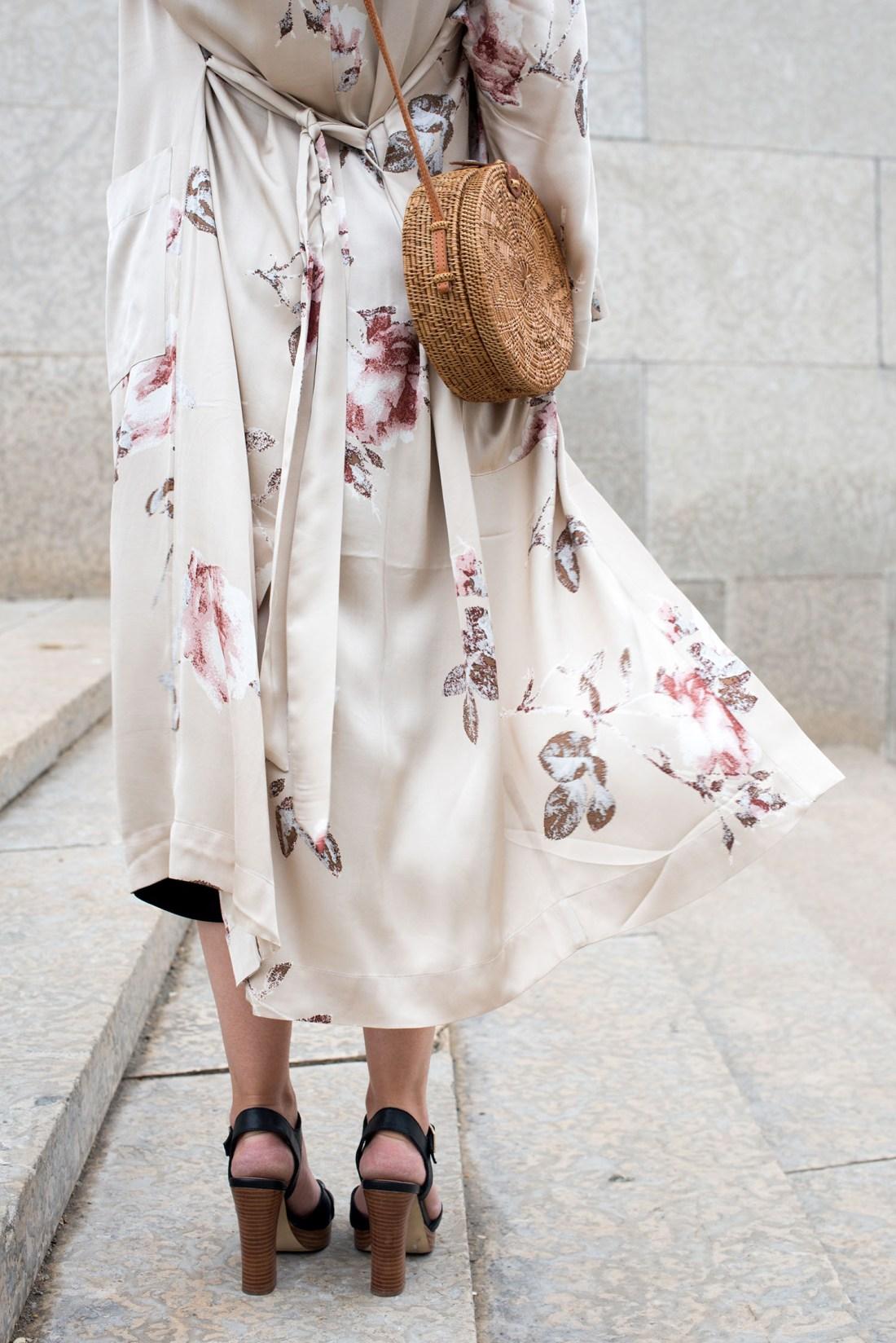 Outfit details on top Winnipeg fashion blogger Cee Fardoe of Coco & Vera including an Aritzia silk kimono and Le Chateau platform sandals
