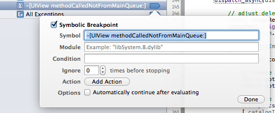 Adding a symbolic breakpoint