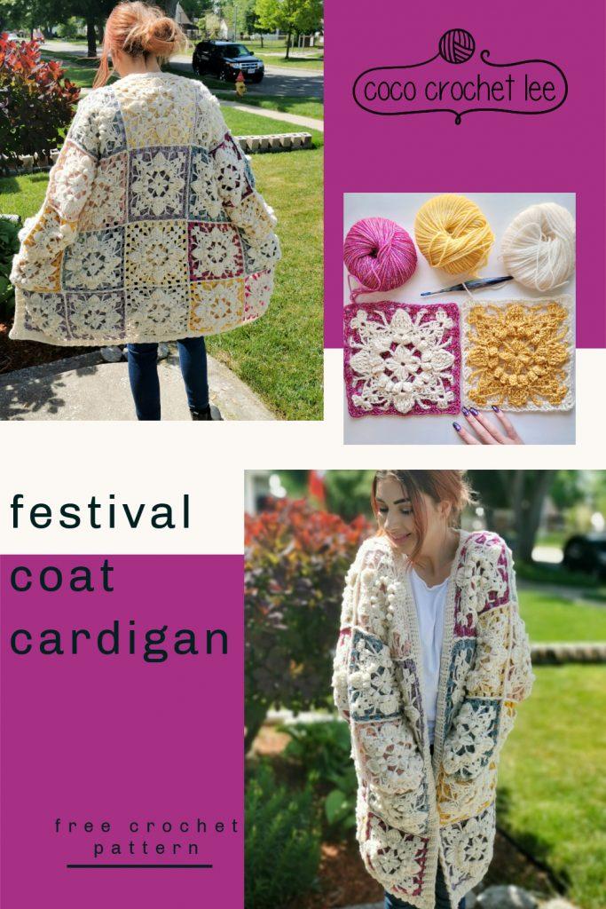 Festival Coat Cardigan - Free Crochet Pattern - CoCo Crochet Lee - Hobbii Yarn