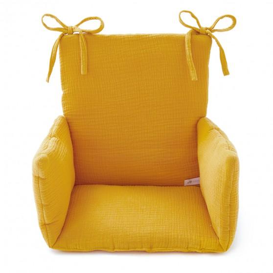 coussin chaise haute en gaze de coton moutarde