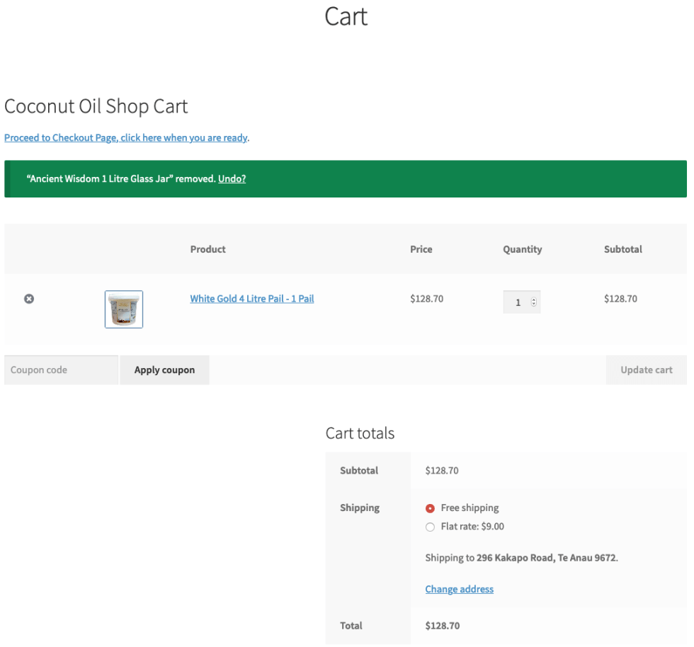 Coupons: View items in the cart page